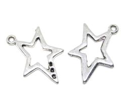 2 Breloques étoile en métal argenté - 25 x 18 mm - RZZ168
