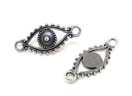 Connecteur oeil en métal argenté - 30 x 12 mm - F207W