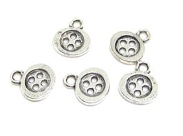 5 Breloques bouton en métal argenté - 10 x 12 mm - RZZ158