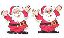 2 boutons père Noël en bois - 35 x 33 mm