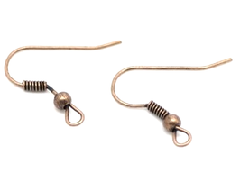 10 dormeuses crochets en métal cuivré pour boucle d'oreilles