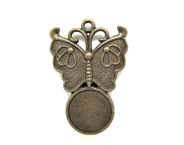 Support cabochon papillon en métal bronze  - RZZ139