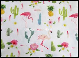 Tissu aux motifs tropicaux en coton -  50 x 45 cm - T98