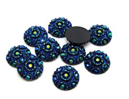 5 Cabochons synthétique bleu irisé 12 mm - CCW32