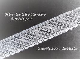 1 mètre de dentelle blanche à petits pois plumetis - 30 mm  - D45