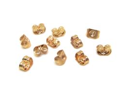 10 attaches poussoirs pour boucles d'oreilles en métal doré