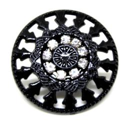Gros bouton noir avec strass - 30 mm