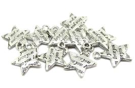 10 Breloques étoile gravée en métal argenté - RZZ39