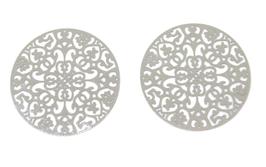 2 estampes ajourées en acier inoxydable argenté - 34 mm - E13
