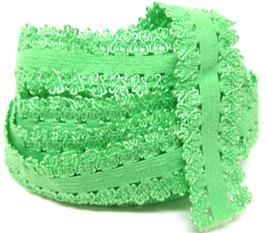 Ruban élastique dentelle vert -  20 mm
