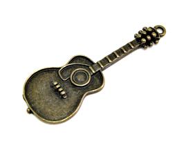 Grande breloque guitare en métal bronze 50 x 18 mm