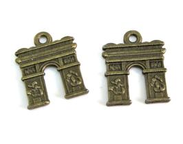 2 Breloques arc de triomphe en métal bronze - 18 x 15 mm TR032
