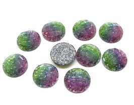 10 Cabochons en résine glitter bleu, rose, vert - CCW45