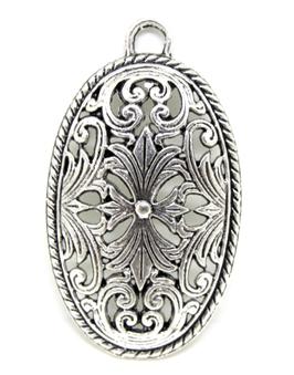 Grand pendentif ovale en métal argenté ajouré  ± 45 x 26 mm - RZZ81