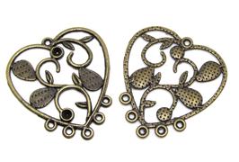 2 Pendentifs coeur chandelier en métal bronze - 34 x 30 mm