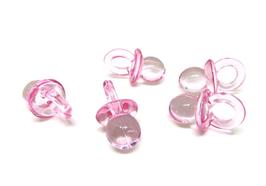5 breloques tétines bébé en résine transparente rose - 21 x 12 mm