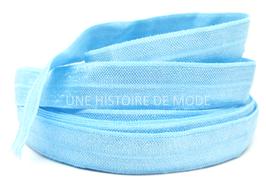 Ruban élastique bleu clair  - 15 mm - ( au mètre )