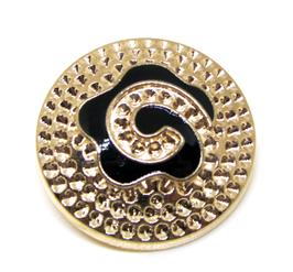 Bouton en métal doré gravé 25 mm  à coudre - B005F