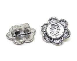 2 Boutons fleur en métal argenté vieilli - 15 mm - B011T