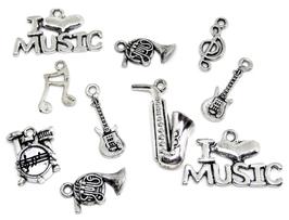10 breloques instruments de musique en métal argenté ( N°2)