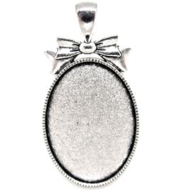 Support cabochon ovale en métal argenté - RZZ82