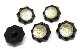 5 boutons noirs effet cristal acrylique - 17 mm - BT028