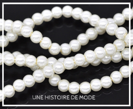 100 perles en verre nacré - blanc - 4 mm- RWZ19