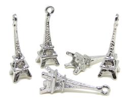 5 Breloques Tour Eiffel 3D en métal argenté - 24 x 8 mm - RZZ68