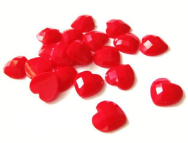 14 cabochons coeur rouge - 10 x 10 mm - CCW69