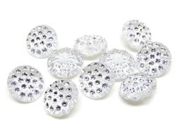 10 boutons strass argenté acrylique - 13 mm - BT030