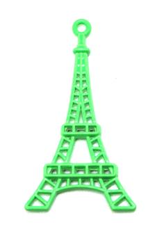 Breloque tour Eiffel - métal vert fluo - 44 x 24 mm