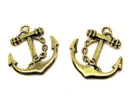 2 Breloques ancre marine en métal doré - 27 x 24 mm