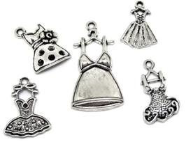 5 breloques robes mixtes en métal argenté  - RZZ58