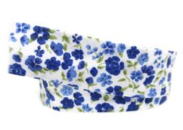1 mètre de biais fleurs bleues foncées - 20 mm replié - BZ48C