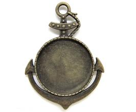 Support cabochon ancre marine en métal bronze ± 50 x 36 mm