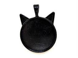 Pendentif support cabochon chat en métal noir ± 36 x 27 mm