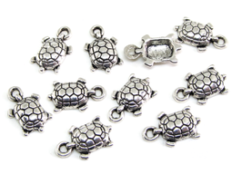 10 Breloques tortue en métal argenté - 15 x 9 mm