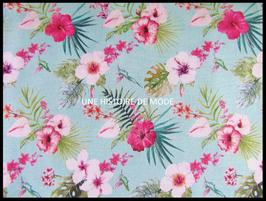 Tissu en coton imprimé hibiscus -   50 x 50 cm  - coupon T108