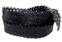 Ruban élastique dentelle noir - 20 mm