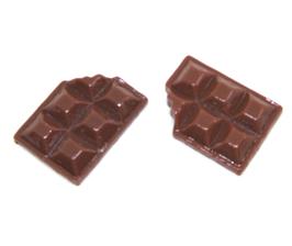 2 cabochons chocolat en résine  - 17 x 12 mm