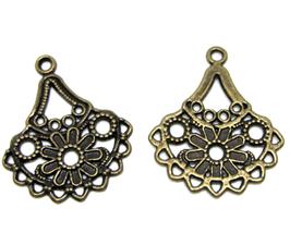 2 Breloques chandelier 9 rangs en métal bronze 33 x 28 mm - TR053
