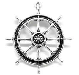 Grande breloque gouvernail de bateau en métal argenté  - 53 x 48 mm