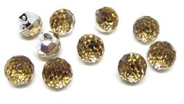 5 boutons boules effet cristal jaune en synthétique  - 12 mm - BT019