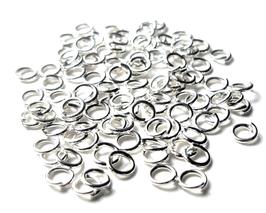 100 anneaux 4 mm en métal argenté