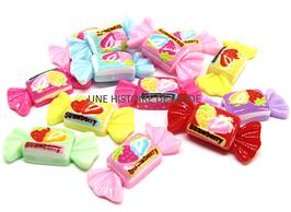 5 cabochons bonbon en résine couleurs mixtes  - 25 x 10 mm