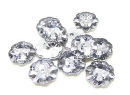 10 boutons fleur acrylique couleur cristal - 13 mm - BT083