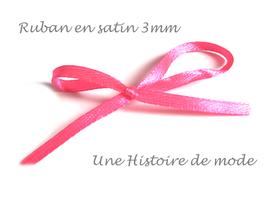 1 mètre de ruban satin rose (fluo) 3 mm