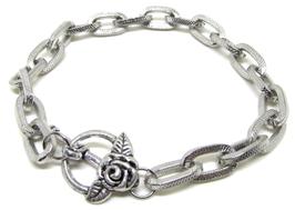 Bracelet à gros maillons en métal argenté - B004