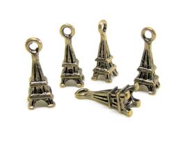 5 Breloques Tour Eiffel en métal bronze 17 x 6 mm - TR036