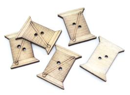 5 boutons bobine de fils en bois - 23 x 18 mm - BT039